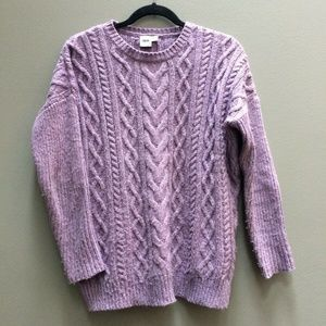 ASOS Lilac Chunky Cable Knit Drop Shoulder Sweater